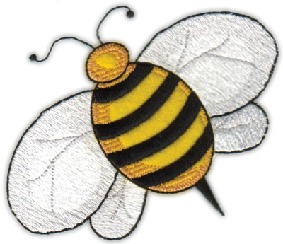 """Embroidery Design: Country Bee (Applique)4.90"""" x 4.20"""""""