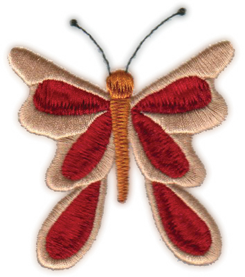 """Embroidery Design: Country Butterfly (larger)2.75"""" x 3.14"""""""