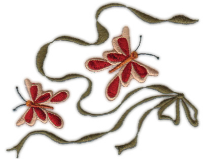 """Embroidery Design: Country Bow N' Butterflies5.00"""" x 3.76"""""""