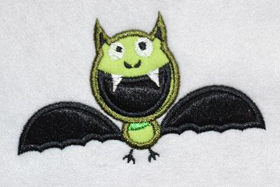 Embroidery Design: Halloween Bat Applique 4.02w X 2.45h