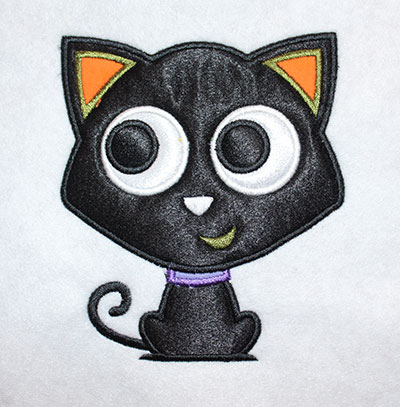 Embroidery Design: Halloween Cat Applique 4.39w X 5.03h
