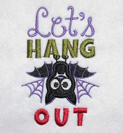 Embroidery Design: Halloween Lets Hang Applique 2.64w X 4.08h