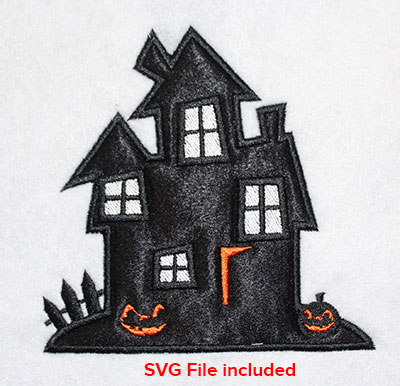Embroidery Design: Halloween Haunted House Applique 4.65w X 4.58h