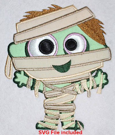 Embroidery Design: Halloween Mummy Applique 5.11w X 6.04h