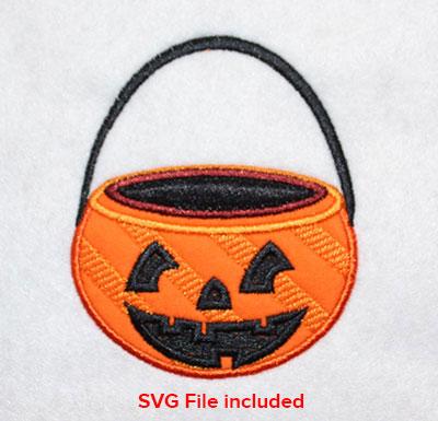 Embroidery Design: Halloween Pumpkin Basket Applique 3.36w X 4.04h
