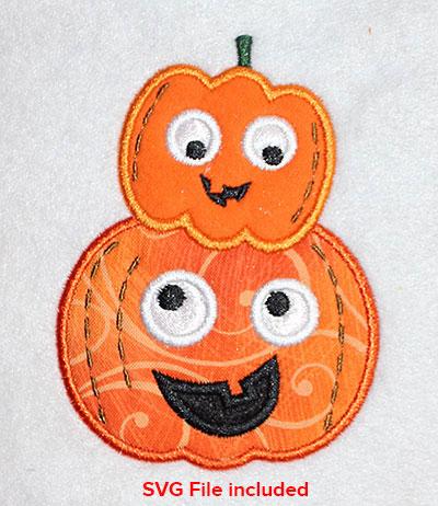 Embroidery Design: Halloween Pumpkins Applique 3.03w X 4.05h