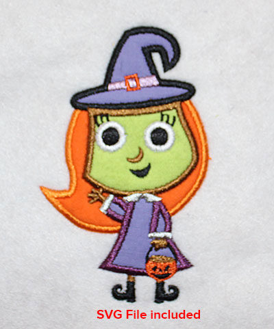 Embroidery Design: Halloween Witch Applique 2.62w X 4.23h