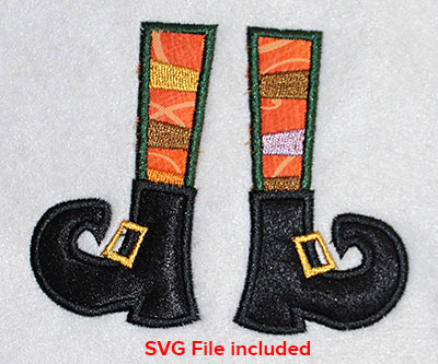 Embroidery Design: Halloween Witch Feet Applique 4.09w X 3.29h