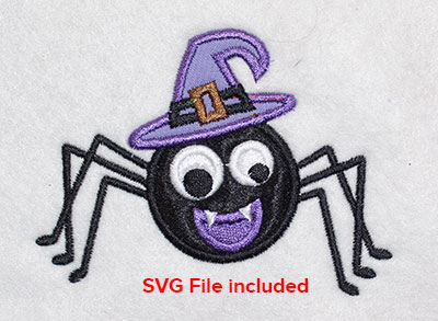 Embroidery Design: Halloween Witch Spider Applique 4.01w X 2.97h