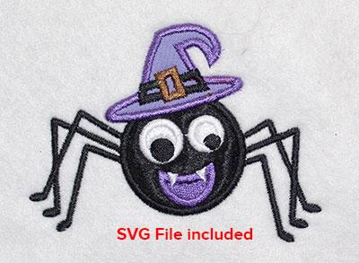 Embroidery Design: Halloween Witch Spider Applique 4.01w X 2.97h