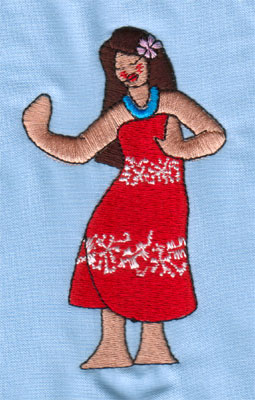 "Embroidery Design: Hula Girl 2 (large)2.41"" x 3.98"""