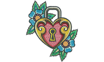 Embroidery Design: Heart Lock Tattoo 3.78w X 4.53h