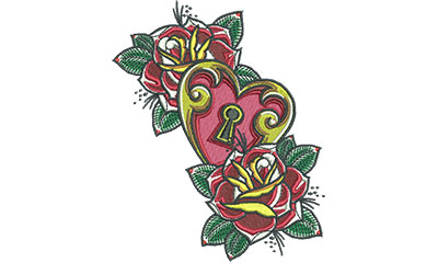 Embroidery Design: Heart Lock Roses 4.47w X 5.46h