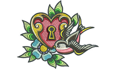 Embroidery Design: Heart Lock Swallow 5.37w X 4.56h