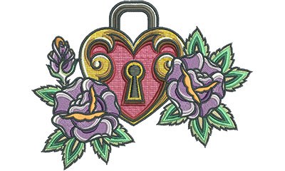 Embroidery Design: Heart Lock Floral 4.99w X 4.60h