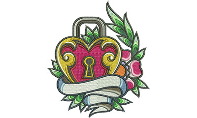 Embroidery Design: Heart Lock Banner 4.48w X 5.13h