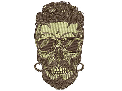 Embroidery Design: Hipster Skull 5 2.80w X 5.03h
