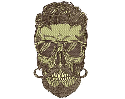 Embroidery Design: Hipster Skull 7 3.90w X 6.98h