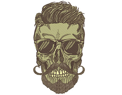 Embroidery Design: Hipster Skull 9 5.04w X 9.03h