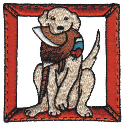 """Embroidery Design: Hunting Dog with the Prize3.07"""" x 3.16"""""""
