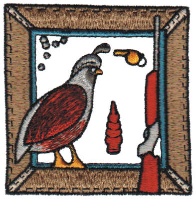 """Embroidery Design: Hunting Quail3.08"""" x 3.17"""""""