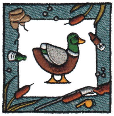 "Embroidery Design: Framed Duck Hunt3.11"" x 3.13"""