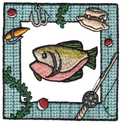 """Embroidery Design: Framed Fish3.10"""" x 3.17"""""""