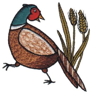 "Embroidery Design: Pheasant3.02"" x 3.08"""