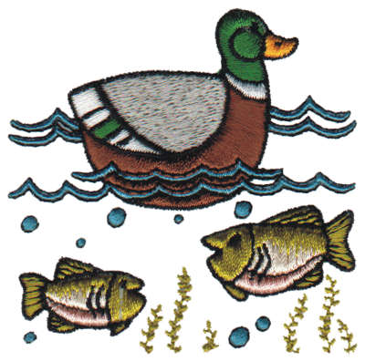 "Embroidery Design: Pond Life3.14"" x 3.22"""