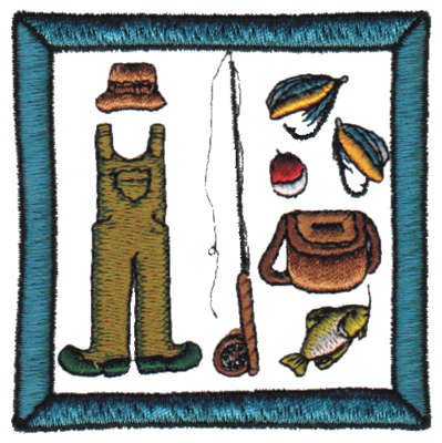 """Embroidery Design: Fishing Gear3.15"""" x 3.16"""""""