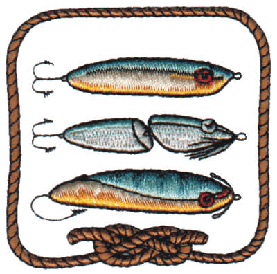 """Embroidery Design: Fish Hooks2.99"""" x 2.88"""""""