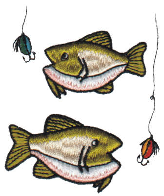 "Embroidery Design: Two Caught Fish2.65"" x 3.15"""