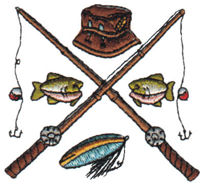 """Embroidery Design: Crossed Fishing Pole2.84"""" x 2.63"""""""