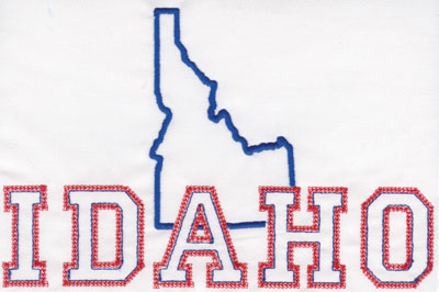 """Embroidery Design: Idaho Outline and Name5.20"""" x 7.95"""""""