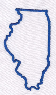 "Embroidery Design: Illinois Outline4.19"" x 2.37"""