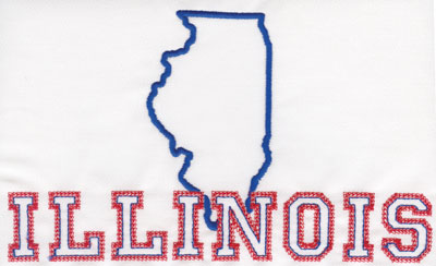 """Embroidery Design: Illinois Outline and Name4.75"""" x 8.01"""""""