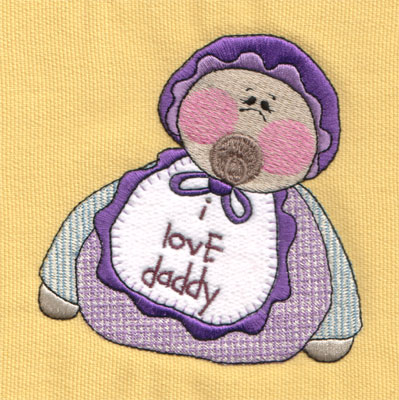 "Embroidery Design: I Love Daddy (with bib)4.02"" x 4.04"""