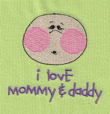 """Embroidery Design: I Love Mommy and Daddy 13.04"""" x 2.68"""""""