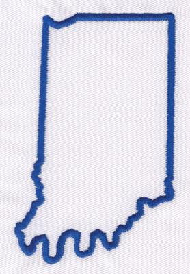 """Embroidery Design: Indiana Outline4.24"""" x 2.65"""""""