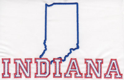 """Embroidery Design: Indiana Outline and Name5.09"""" x 8.02"""""""
