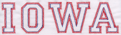 "Embroidery Design: Iowa Name2.36"" x 7.96"""