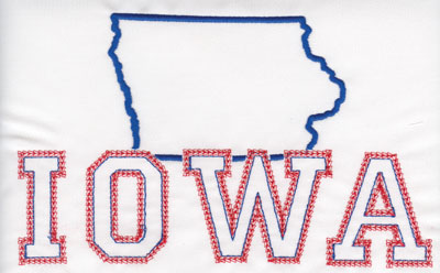 """Embroidery Design: Iowa Outline and Name4.87"""" x 7.98"""""""