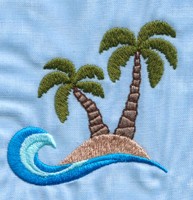 "Embroidery Design: Island With Two Palm Trees (small)2.84"" x 2.95"""