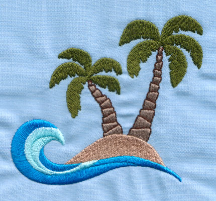 "Embroidery Design: Island With two Palm Trees (large)3.84"" x 3.98"""
