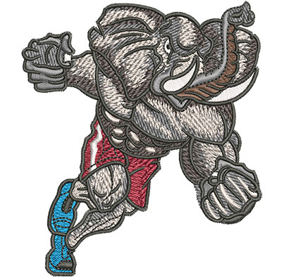 Embroidery Design: Charging Elephant Mascot Med 3.50w X 4.02h