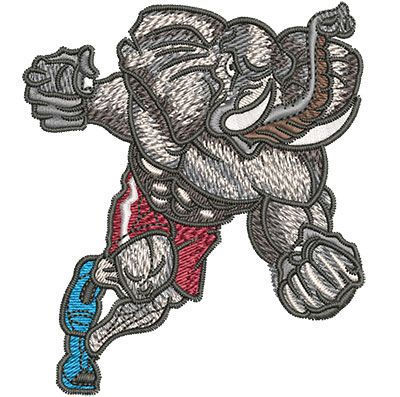 Embroidery Design: Charging Elephant Mascot Sm 3.07w X 3.52h