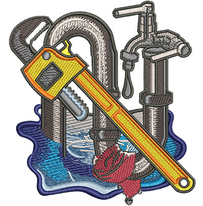 Embroidery Design: Plumbing Trap Pipe Lg 4.15w X 4.53h
