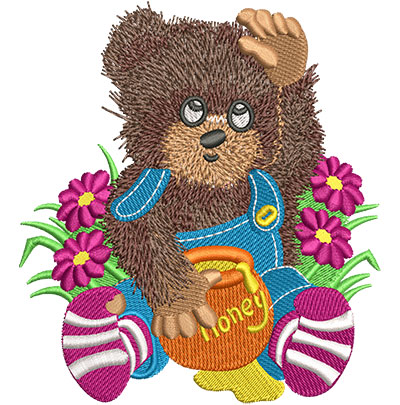 Embroidery Design: Honey Bear Lg 4.10w X 4.54h