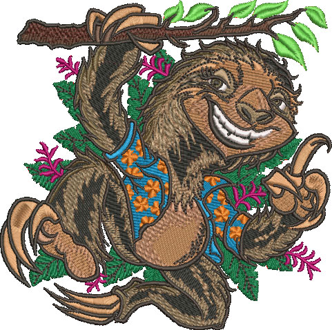 Embroidery Design: Sloth Med 5.02w X 4.99h