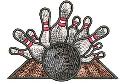 Embroidery Design: Bowling Crash Sm 3.50w X 2.56h